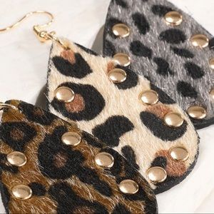 Camel Leopard Print Faux Fur Studded Earrings